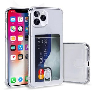 Transparent Card Holder TPU Phone Case for iPhone 12 mini 11 Pro Max X XS XR 8 plus Airbag Shockproof ID Card Slot Soft Clear Cover