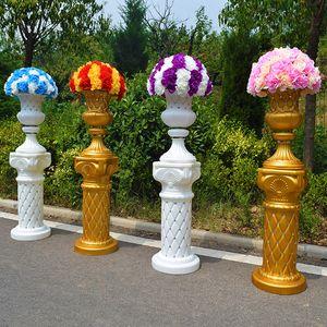 New Diamond-studded Gold Roman Column Wedding Aisle Runner Road Cited Pillar for Event Opening Celebration Props