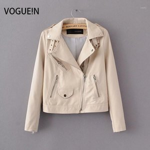 Vogue! N New Womens Soft Faux Leather Motorcycle Zipper Jacket Lapel Curto Casaco Outerwear Preto / Bege 2 Cores1