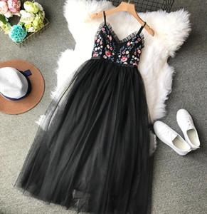 Summer Beach Boho Dress Women Mesh Floral Embroidery Dress Elegant Backless Ladies Dresses Korean Vestido 2020 KJ1714