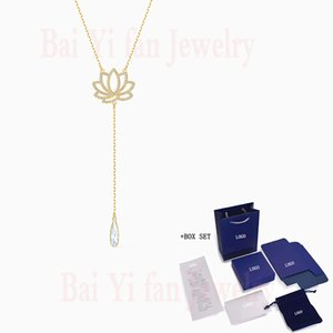 Fashion Accessories SWA New SYMBOLIC LOTUS Necklace Yellow Gold Glamorous Lotus Flower Crystal Female Romantic Jewelry Gift Z1126