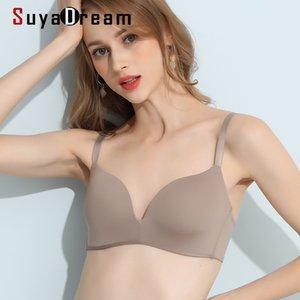 SuyaDream Women Wire Free Bras 100%Natural Silk One Piece Seamless Everyday wear Bra Underwear Nude Black Gray Red Intimates Q1119