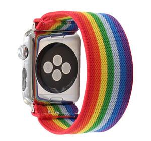 Rainbow Scrunchie Elastic Watch Bdand для Apple Watch Band Series 6 5 4 3 38 мм 40 мм 42 мм 44 мм iPhone 12 Mini Pro Max Airpods Pro Силиконовый чехол