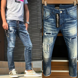 Uomo in difficoltà Denim Pantaloni Danno Damage sbiadito Five Takets Clement Fit Jeans Skinny Leg Effects Effects Mens