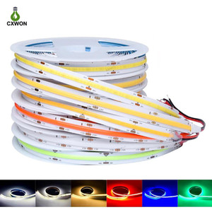 COB LED Strip Light DC12V 24V 384LEDs M 10MM High Density Dimmable Tape FOB Strip Light W WW R G B