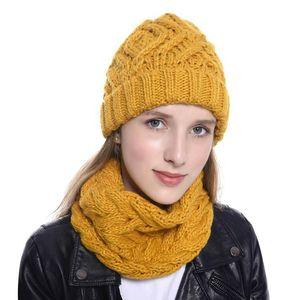 Winter Knit Pom Beanie Hat Scarf Set Women Cute Soft Warm Infinity Loop Scarves 8 colors