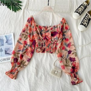Retro Wooden Ear Print Blouse Holiday Beach Style Slim Fit Pleat Blusas Square Collar Off Shoulder Chiffon Shirt 48982