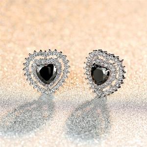 Luxury Female Rainbow Crystal Opal Earrings Charm Silver Color Stud Earrings Cute Love Heart Hollow Wedding For Women