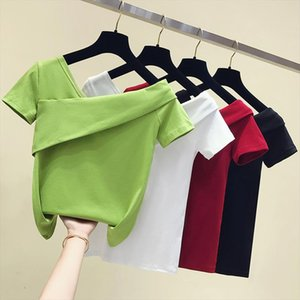 Short Tops T Chic 2020 Korean Sleeve Shirt T One Shoulder shirt Off Shirt Women White Casual Summer Sexy Tee Cotton Femme Mbtqw