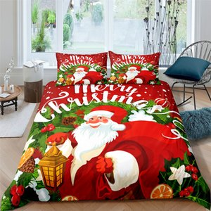 High Quality Christmas Santa Claus Printed Bedding Set For Kids Baby Children Blanket Quilt Cover Bed Home Textile Suit Z1126