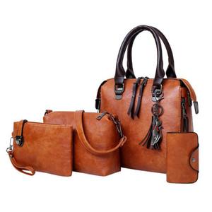 Bag Women Vintage Set Tote Handbag +Shoulder Bag +Messenger blosa +Day Clutch Four Pieces Tote Crossbody