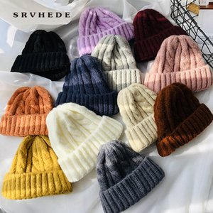 Knitted Warm Cashmere Girl Solid Snake Beans Soft Top Women's Winter Hat 2020