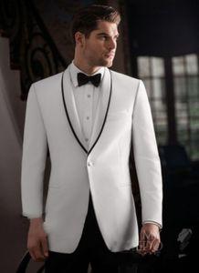 2020 Tailor Made White and Black Satin Custom Wedding Suit for Men Bridgegroom Blazer Slim Fit Tuxedo Vestidos Jacket+Pant F