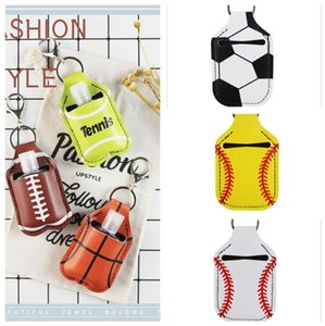 PU Couro Hand Sanitizer Garrafa Suporte Keychain Garrafa Suporte de Chapstick com Beisebol Futebol Tênis Tênis Anéis Pendentes Chaveiro E121001