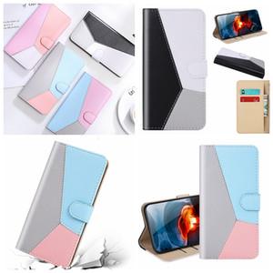 Contrast Color Hybrid Leather Wallet Case For LG K41S K51 K61 Galaxy S30 Ultra Plus A42 5G M51 F41 M31S M21 Hit Card Slot Holder Flip Cover