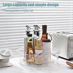 Plateau de stockage de bureau rotatif Plateau de rangement transparent multifonctionnel Boîte de rangement de cuisine Yu-Home W1217