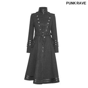 Moda Metal Düğme Kemer Siyah Kış Yün Bayanlar Üniforma Kamgarn Uzun Coats Punk Rave Y-766