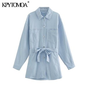 KPYTOMOA Women 2020 Fashion With Belt Stud Appliques Loose Jacket Coat Vintage Long Sleeve Pockets Female Outerwear Chic Tops