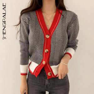 SHENGPALAE New Fashion Autumn V-neck Single Breasted Short Herringbone Pattern Cardigans Women Loose Casual Sweater FV295 201124