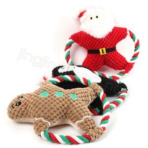 Pet Plush mastigar brinquedo brinquedo vocal cão desenhos animados corda de algodão brinquedo Natal filhote de cachorro molar mordida boneca animais de estimação presentes de natal cyf4561-2