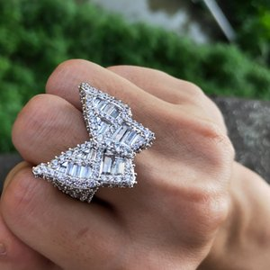 Iced Out Butterfly Ring Mens CZ Diamond Rings New Fashion Hip Hop Gold Silver Ring Jewelry