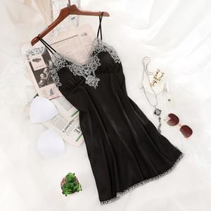 Satin Nightwear Sexy Female Bathrobe Lace Nightgown Silky Intimate Lingerie Women 2pcs Strap Top&shorts Sleep Set Home Clothing