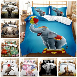 Éléphants Série Digital imprimé Double couverture 3PCS Couette Couette Set de literie Queen King Couette simple Literie double