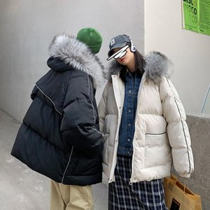 Winter Jacket Men's Warm Fashion Casual Thick Fur Collar Hooded Coat Parka Men Clothes Loose Korean Couple Short Coat S-2XL