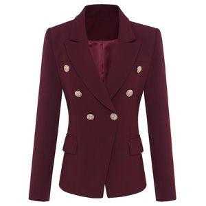 Ladies Black Outwear Feminino Formal Blazer Women 2020 Short Slim Wine Red Buttons Jackets Female Long Sleeve Business Suit Coat