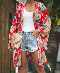 New Style 2021 Womens Long Sleeve Bohemian Floral Casual Loose Long Blouse Kimono Cardigan Flare Sleeve Print Thin Shirt