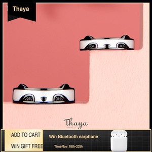 Thaya оригинальный дизайн серебро 925 кольцо панды кольца белый черный циркон дизайн открытые кольца кольца для женщин серебряные украшения Z1121