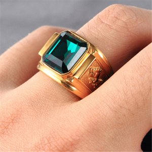 Vintage Fashion Gold silver Color Big Red Black Green Blue Stone Square Gold Color Alloy Men RinG Engraved Dragon Male Rings