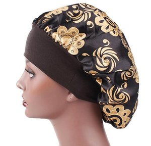 New Fshion Women Satin Night Sleep Cap Hair Bonnet Hat Silk Head Cover Wide Elastic Band Shower Cap