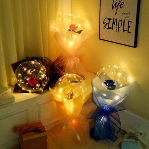 LED Luminous Balloon Rose Bouquet Transparent Bubble Rose Flashing Light Bobo Ball Valentines Day Gift Birthday Party Wedding Decor E121802
