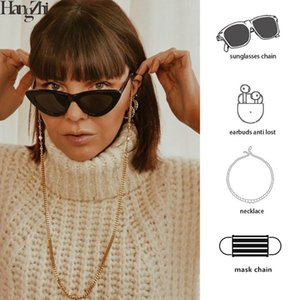 HangZhi 2020 New Fashion Pearl Gold Color Metal Chain for Glasses Mask Chain Earbuds Hanging Rope Cord Punk Spectacles Strap