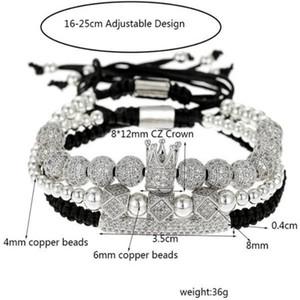 Мужчины Браслет 3шт / набор Uxury Мода Корона браслет Натуральный камень для женщин и мужские Pulseras Masculina для женщин браслеты. y6551
