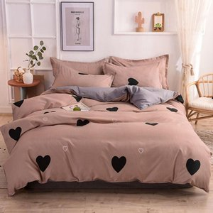 JUSTCHIC Cartoon Love Heart Printing Bedding Set Single Double Queen Size Pillowcase Duvet Cover Bed Sheet Quilt Cover Bedspread