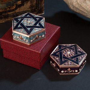 Винтажные ювелирные изделия хранения коробки гексаграммы металлические коробки творческие европейские ювелирные изделия ящик для хранения высокого класса Изысканный свадьба подарок на день рождения Zyy544