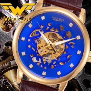 WOLF-CUB Fashion Leather Men's mechanical Luminous stainless steel Sport Watch Waterproof Wristwatch Original design dial
