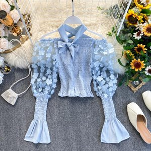 French Vintage Flower Mesh Patchwork Puff Sleeve Blosue Women Sweet Bowknot Off Shoulder Short Shirts Sexy Streetwear Tee Tops