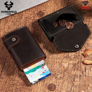 Humberpaul RFID Blocking card portafoglio portafoglio uomo automatico pop-up cabina custodia cuoio cuoio cuoio in pelle box in alluminio scatola