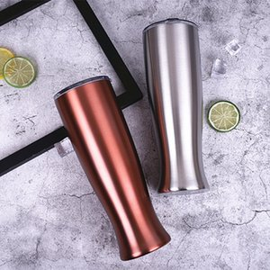 20 Oz Stainless Steel Beer Mugs Double Layer Travel Vase Tumbler Originality Vacuum Cup With Clear Lid 25sx E1