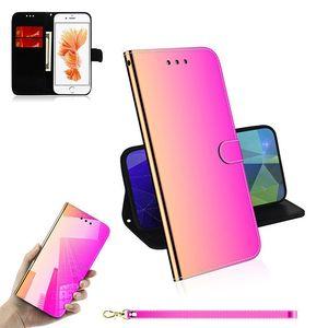 iPhone 12 Pro Max Phone Cases 11 Pro Max 용 미러 가죽 지갑 전화 케이스 Samsung Galaxy Note 20 Ultra S20 S10