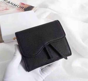Сумки кошельков Мода Новая простая квадратная карточка держатель черного цвета леди кошелька 3-кратная сумочка многофункциональная многоквартирная сумка