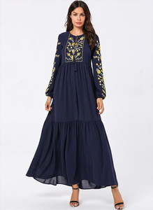 Abaya for Women Muslim Dress Ladies Long Sleeve Loose Embroidery Long Dress Maxi Islamic Women Muslim Robes Dubai Clothing