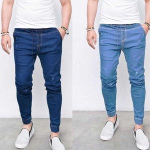 Мужские джинсы мужские худые эластичные талии синий цвет карандаш брюки повседневные велосипед джинсовые брюки бегагинг человек улица ковбойская одежда 2021