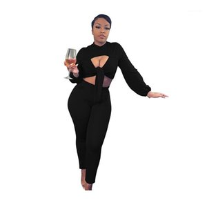 Color Womens Tracksuits Fashion Hollow Out Two Piece Set Casual Crew Neck Designer Bandage Womens Clothes Soild