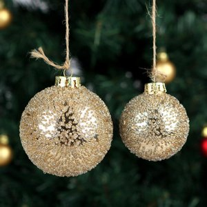 Free Shipping Diameter=6cm 8cm Small Size Gold Beads Sticking Glass Globe Home Decoration Christmas Day Hanging Ball Pendant