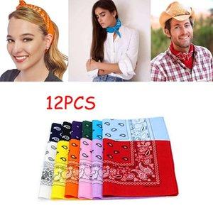 12pcs Polyester Cotton Cashew Flower Hip-hop Bandanas For Women Pocket Square Head Neck Scarf Wristband Handkerchief Men #BL4