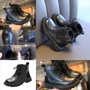 6597 Children's children's boot baby autumn and winter new children's leather front zipperboots fashion designer boots soft bottom n